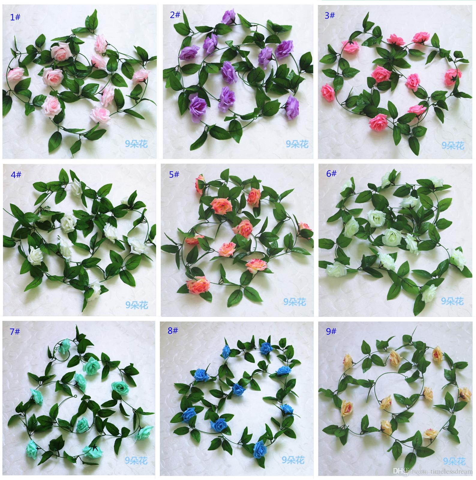 2019 245cm Artificial Silk Flower Rattan Wedding Decoration Artificial Rose Flower Vine Party Diy Decor Photography Props Flowers Garland From