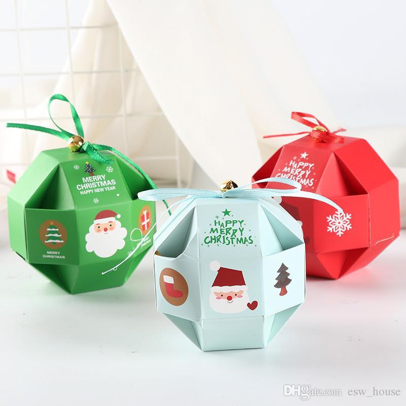 Regalos Polígono Feliz Navidad Caja De Dulces de Navidad para hornear galletas del caramelo bolsa de almacenamiento Verde Azul navidad del caramelo Box