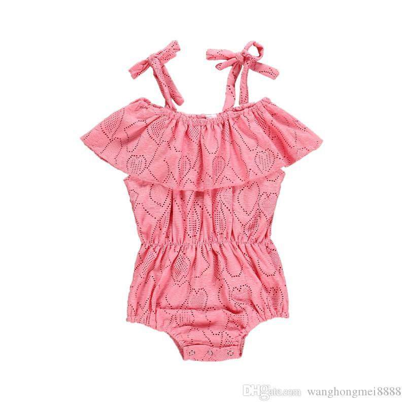 الصيف لطيف طفل الفتيات ملابس الصيف sunsuit الوردي القلب طباعة الأميرة السروال القصير الرضع الزي الفتيات بذلة الملابس مجموعة