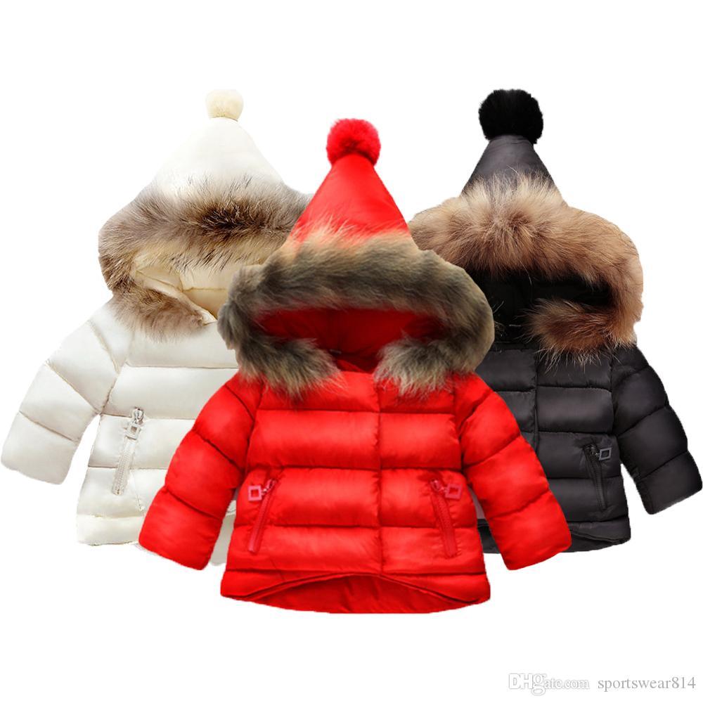 Brasão meninas jaqueta de algodão Quente Para Brasão Bebés Meninas Inverno Fur com capuz Crianças Casacos Crianças Roupa da criança Casacos menina