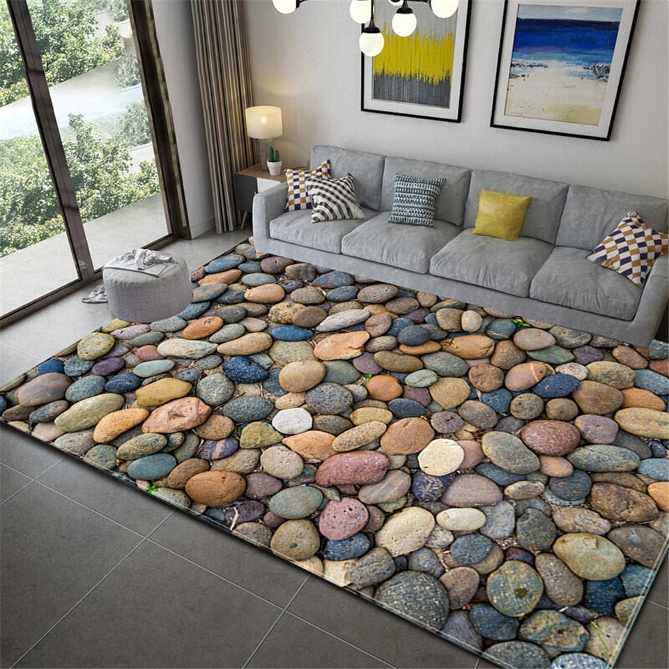 Tapete Wishstar 3D de pedra impresso macio flanela grande tapete para Rooms Mats no corredor Antislip Kitchen Mat Big Piso Tapetes T200529