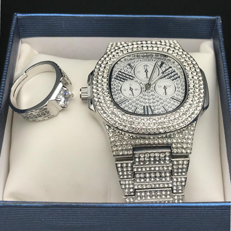Los hombres Hip Hop heló hacia fuera el reloj del diamante del anillo de diamante Conjunto de Conjunto ajustable anillo de la joyería Roca del golpeador hombres Street Dance Moda
