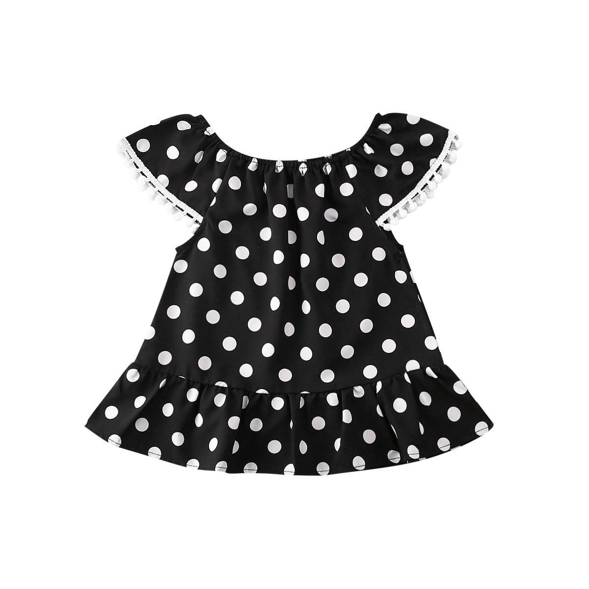 Yaz 0-5Years Bebek Çocuk Kız Bebek Polka fırfır Parti Yarışması Tutu Elbise Günlük Sundress