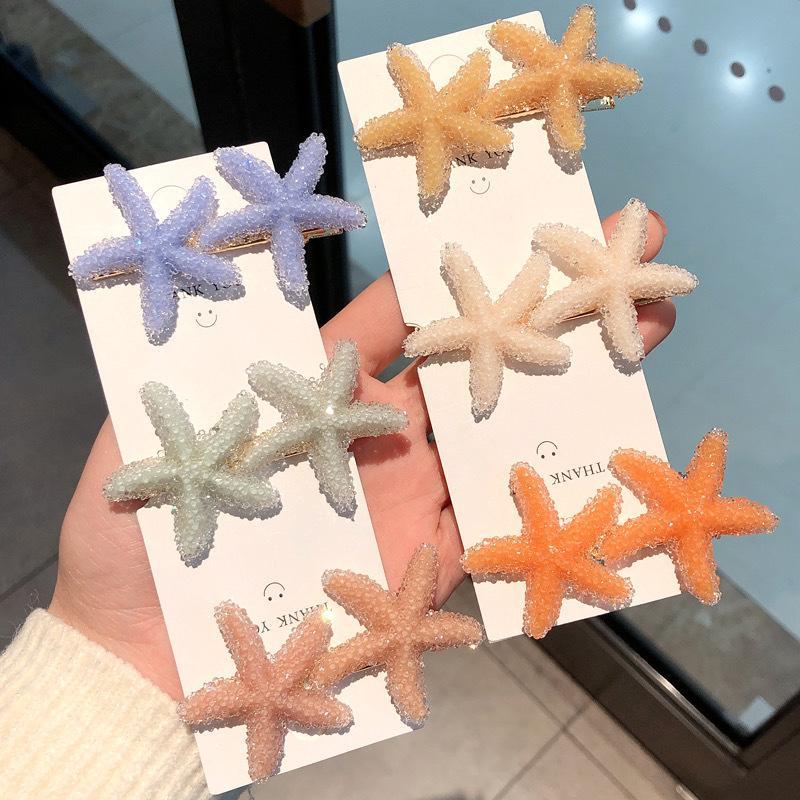Clip S1492 estrellas de mar del color del caramelo pasador de pelo de la horquilla Dukbill dentada pinza de pelo de la horquilla Señora Barrette Accesorios para el cabello