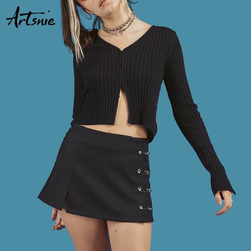 Artsnie Primavera 2018 Black Casual Casual Knitted Cardigan corti Donne V Neck Manica lunga raccolta Maglioni Unif Jumper invernale Pull FemmemX190926