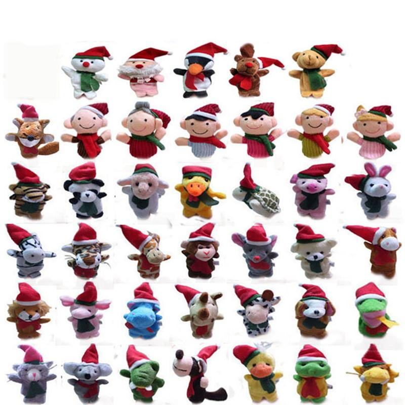 40 Styles Christmas Finger Puppet Sets Collection of Animals characters fingering sets, Xmas parent-child toys Finger Doll kids Gift C2284