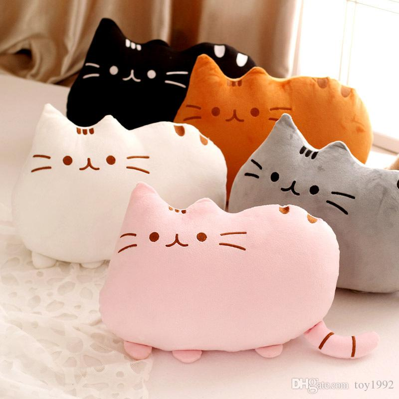 Cute biscuit cat pillow plush doll big face cat comet star cushion big lazy cat removable and washable children's toy gift