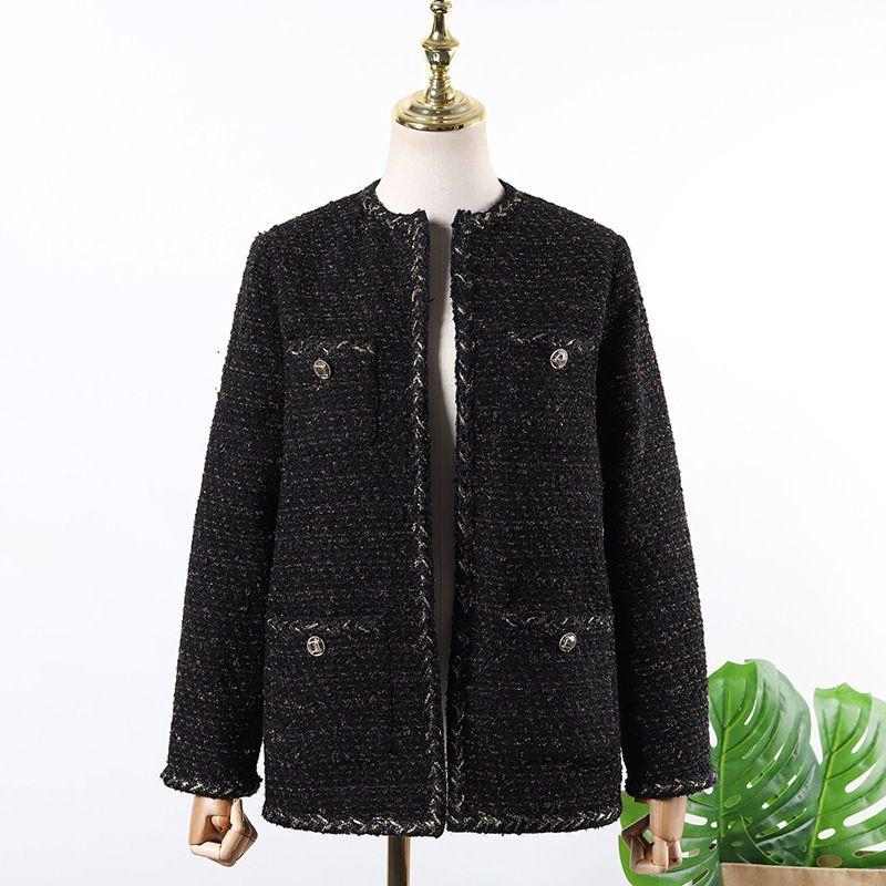 Hohe Qualität 2020 neue schwarze Tweed-Anzüge Mantel-Frauen-Frühlings-Herbst-Wolljacke weiblichen Langarm Coats Paare Outwear YQ429