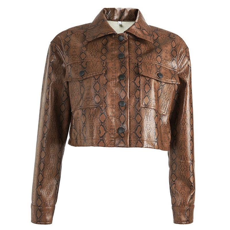 Moda Snake Stampa Faux Leather Jacket corta Snakeskin femminile del cappotto del rivestimento di inverno di autunno 2018 pelle di base Giacche Soprabiti Pu