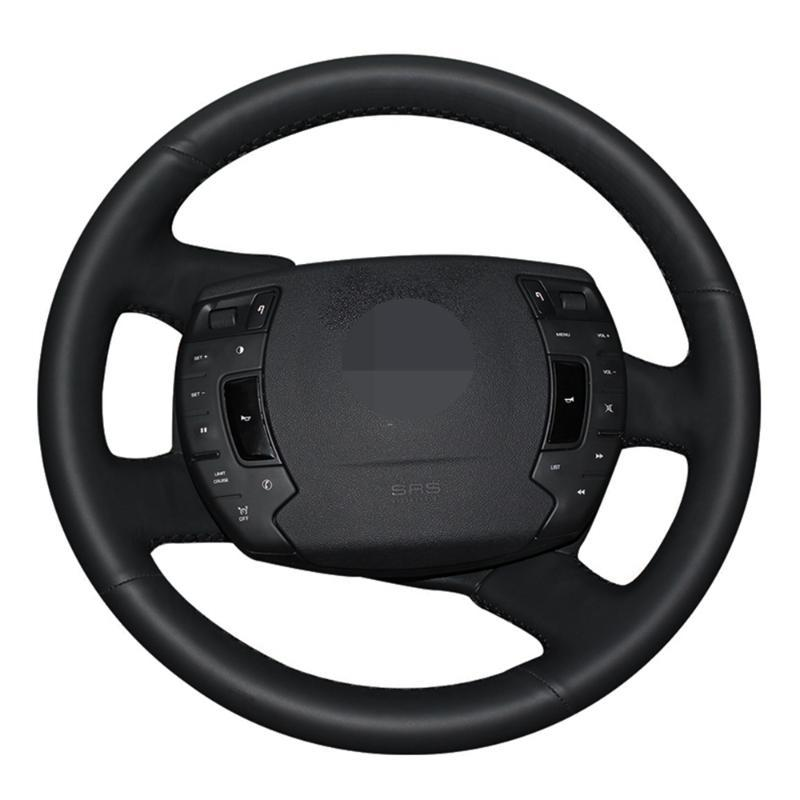 Car Steering Wheel Cover Hand-stitched Black Genuine Leather For C5 2008 2009 2010 2011 2012 2013 2014 2020 -2020