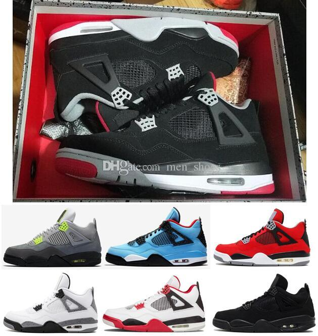 Best Quality 4s New Bred Black Cat Neon White Cement Basketball Shoes Men 4 Travis Scotts Toro Bravo Fire Red Cool Grey Sneakers With Box