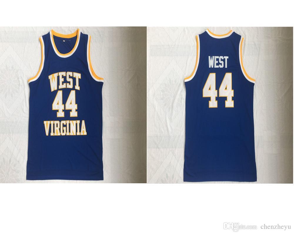 JERRY WEST # 44 VIRGINIA MOUNTAINEERS Vintage Basketbol Formaları Dikişli Mavi