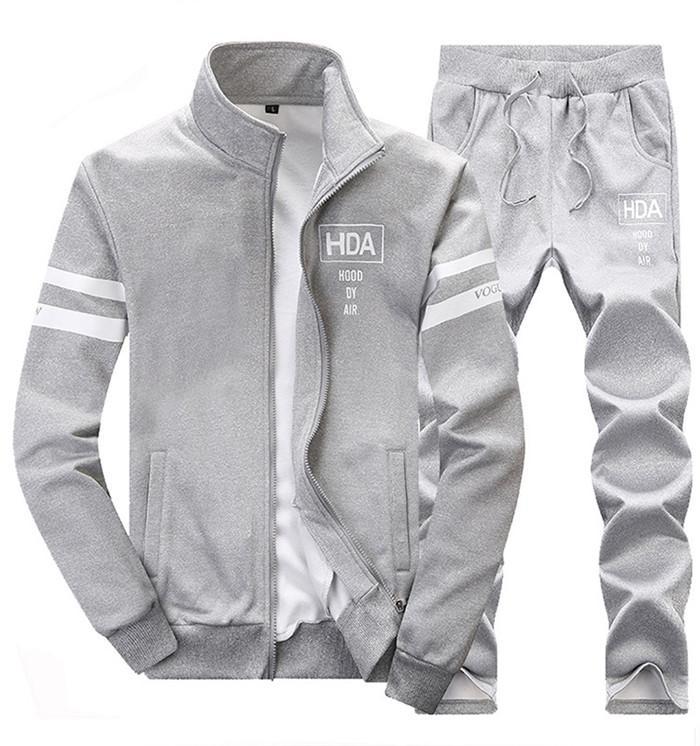 2019 nuovi Mens di tuta Outwear Set 2 pezzi Autunno sportivo pista seme maschile fitness collare del basamento Felpe Jacket + ansima gli insiemi T2