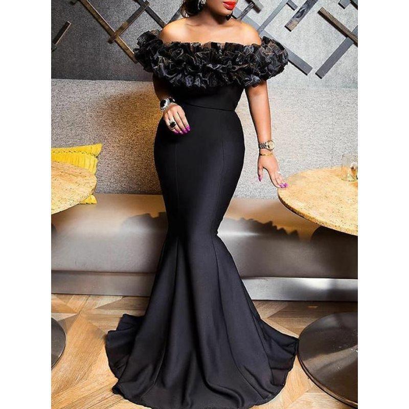 섹시한 여성 인어 드레스 2,019 슬래시 목에 검은 색 긴 맥시 드레스 로브 Porm 인어 파티 저녁 우아한 긴 트럼펫 드레스 Y200101