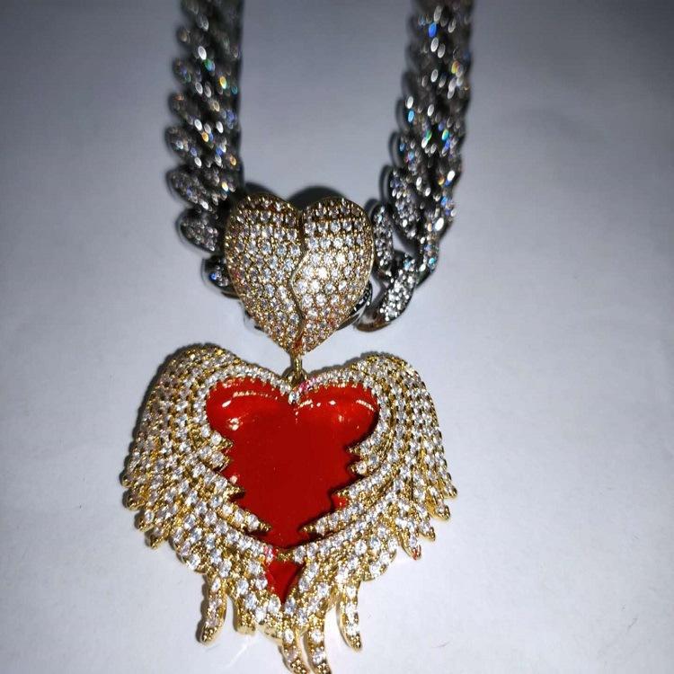Herz-Halskette der Männer Diamant-Anhänger Anhänger Luxus Designerschmuck Frauen Halsketten Iced Out Cuban Link Kette Rapper Schmuck Zirkonia
