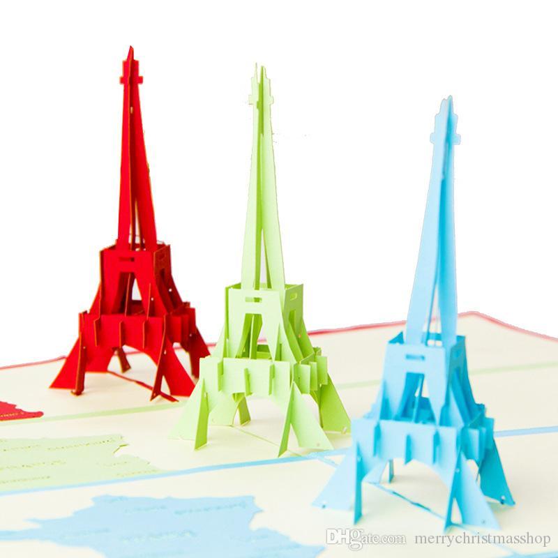 Compre Tarjeta De Felicitación Romántica 3d París Torre Eiffel Hecha A Mano Kirigami Origami Pop Up Cumpleaños Tarjetas De Invitación De Regalo A 1 4