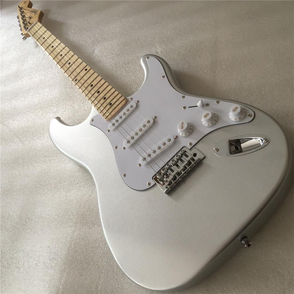 Libre ShippingCustom Shop, ST de la guitarra eléctrica, la garantía de calidad, el cuerpo de plata ha Floyd Rose en las fotos it.Real!