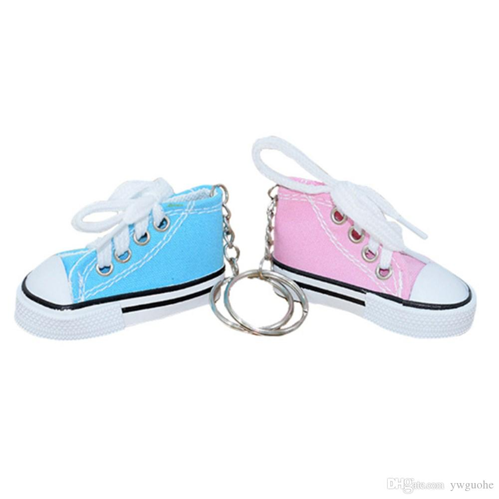 wholesale Mini Canvas Shoes Sneaker Tennis Keychain Creative Key Ring Chain Simulation Sport Shoes Funny Keyring Pendant Gift