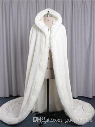 New Collection Ladies White Ivory Wedding Cape Floor Length Winter Warm Bridal Cloak Hooded Custom Made Free Shipping