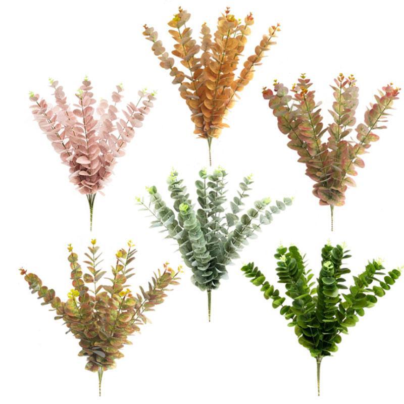 20pcs / lot INS Okaliptüs Yapraklar Yapay çiçek Yapraklar Tropikal Bitki ofis / ev / düğün Bitkiler Bahçe Ev Ofis Dekorasyonu Sahte Yeşil Yaprak