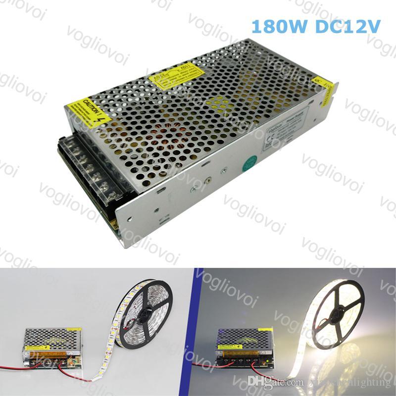 Transformadores de iluminação DC12V 180W Acessórios de prata de alumínio 110V-240V para 3528 5050 Sinal de faixa no módulo Pixel Light DHL
