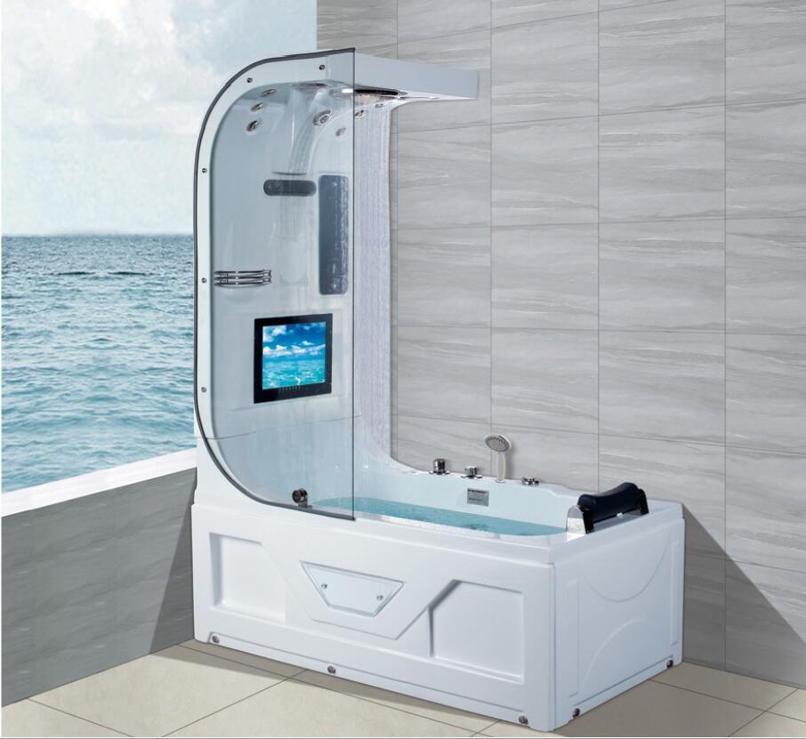 1600mm Whirlpool Wasserfall Badewanne Hydromassage Surfen Top Duschfernseher Thermostatfunktion Indoor Wanne NS3220