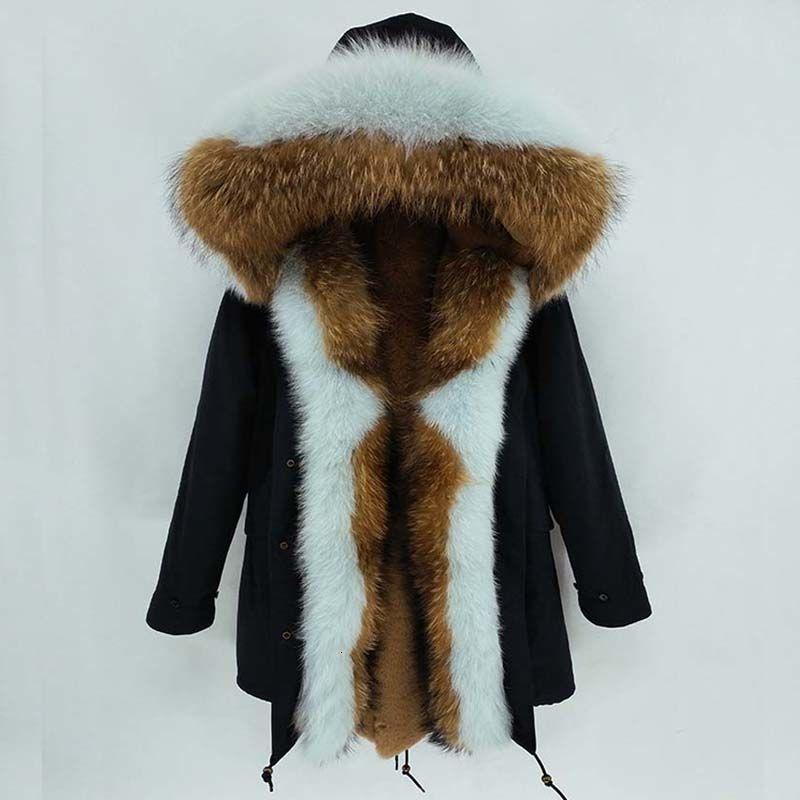 2019 Long Parka Coat Winter Jacket Women Natural Real Raccoon Fox Fur Collar Hood Thick Warm Outerwear Streetwear Luxury Y190912