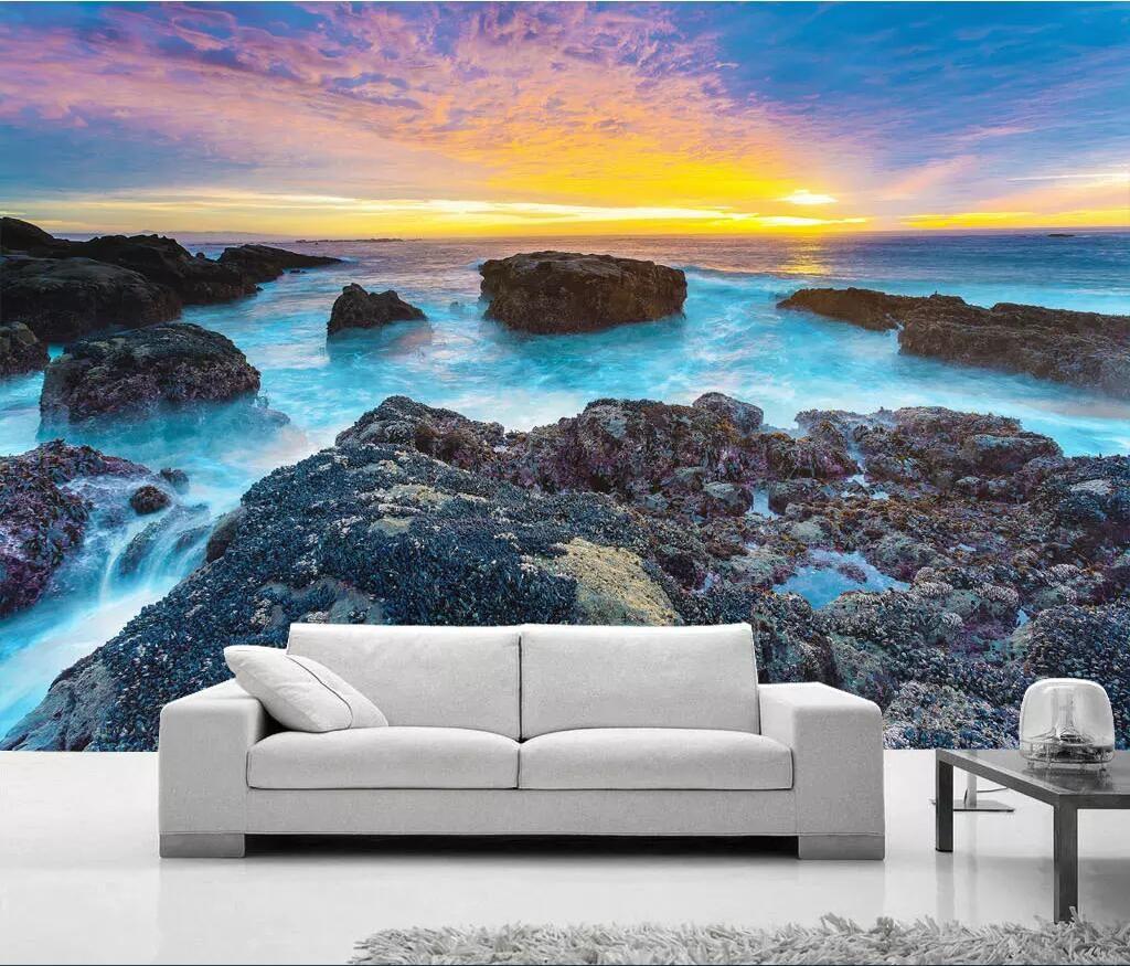 Papel tapiz 3D murales fotográficos personalizados Golden Sunshine California Playa Costa Mar Paisaje Fondo Pintura de pared papel tapiz para paredes 3 d