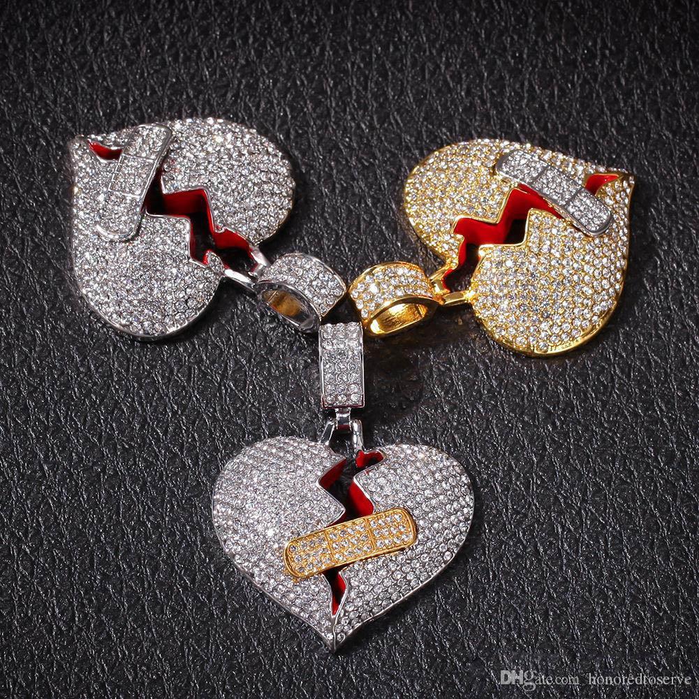 Designer delle donne degli uomini gioielli Cuore Bandage collana di Hip Hop hiphop ciondolo pendente zircone fuori ghiacciato Cuore Collane Moda rotto