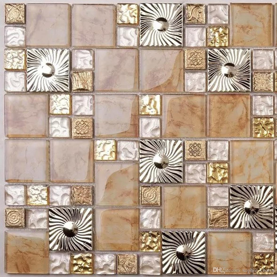 2019 Gold Yellow Glass Mosaic Kitchen Tile Backsplash SSMT408 Stainless  Steel Metal Glass Mosaic Wall Tiles From Sophie_charm, $17.88 | DHgate.Com