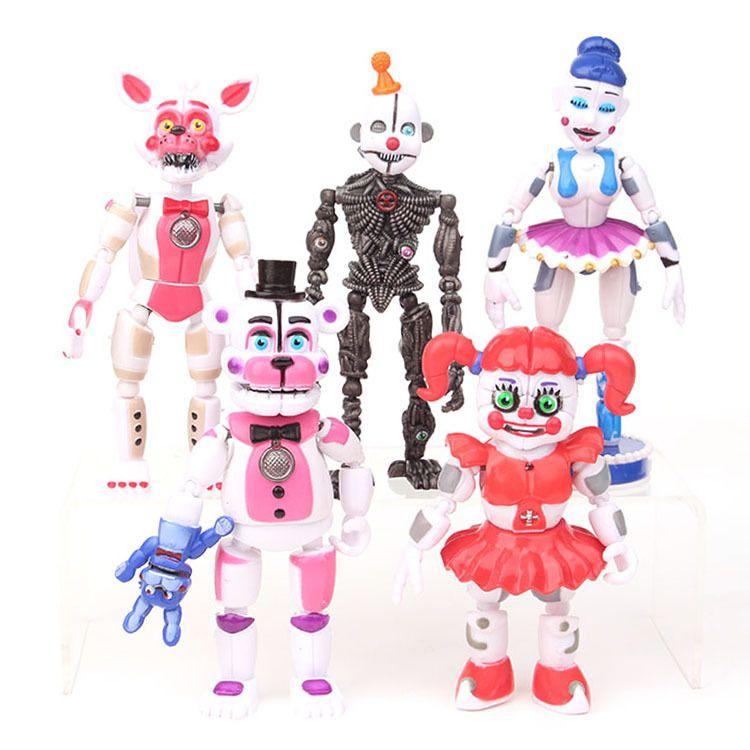 5 pçs / lote Fnaf Cinco Noites Em Freddys Freddy Brinquedos Bonnie Foxy Fazbear Urso Com Luz Led Pvc Conjunta Figuras Móveis Brinquedos 13-16 cm Y19062901