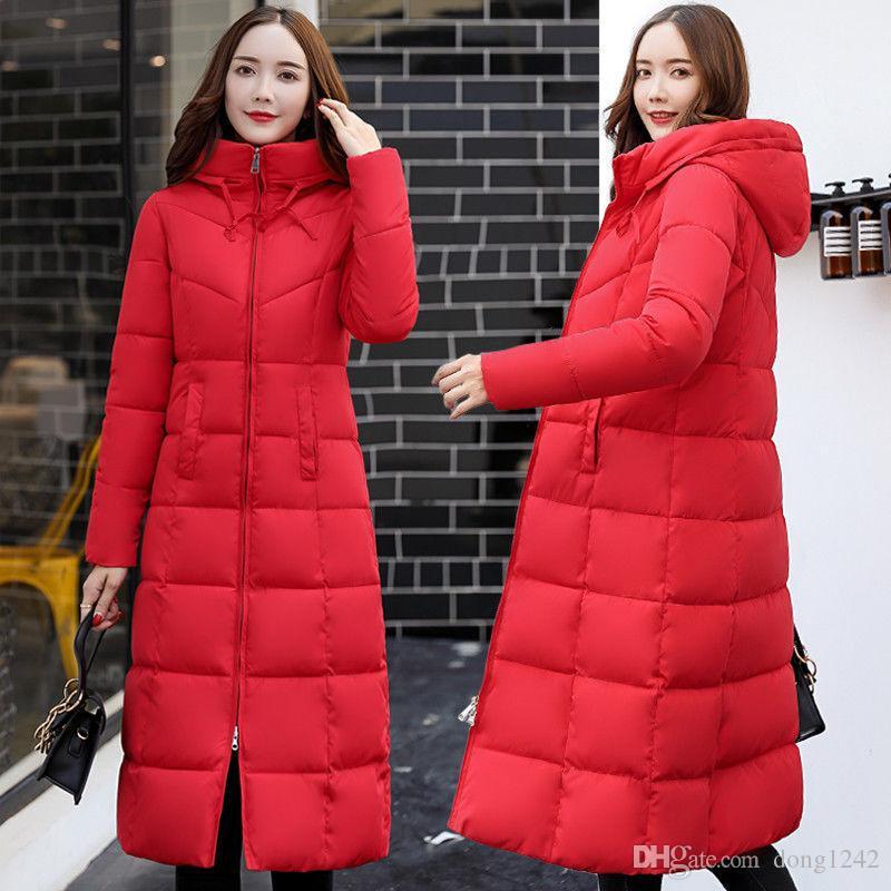 Giubbotto invernale da donna con cappuccio in cotone lungo con cappuccio