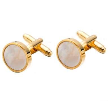 Yuvarlak Erkekler Kol düğmeleri Altın Renk Düğün Hediye Gömlek Kol Düğmeleri deniz kabuğu kol düğmeleri Drop Shipping Düğün Aksesuarları