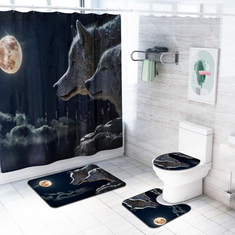 Tiger Printed Duschvorhang 4 Sätze Teppich-Abdeckung WC-Abdeckung Pad Badmatte Pad Set Badezimmer-Vorhang mit 12 Haken Wolf Elefant