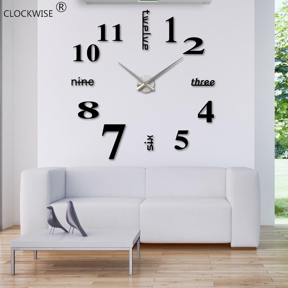 Atacado-2019 Chegada Nova Quartz 3D Relógios moda relógios 3d real Big Wall Clock Apressado Espelho Etiqueta Diy Sala Decor # ZH015