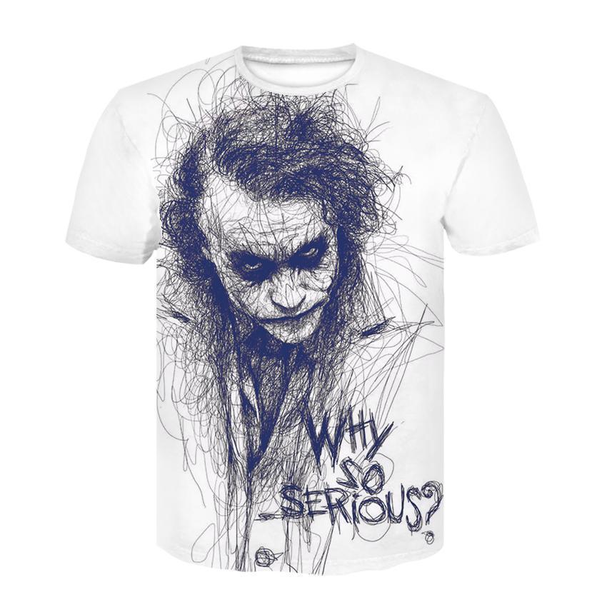 Tops de Halloween más tamaño 4XL Camisa fresca de verano Joker T Por qué tan serio hombres Harajuku T-shirt de cuello redondo Casual Camiseta Homme