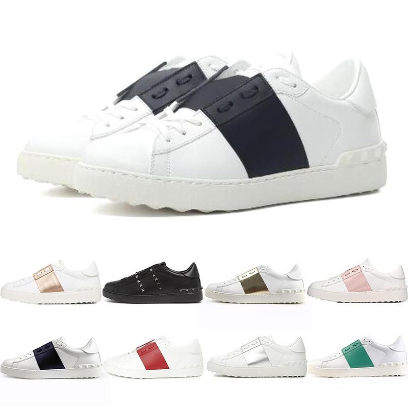 valentino Lüks Tasarımcı Platformu Beyaz Siyah Kırmızı Erkek Kadın Deri Rahat Ayakkabılar Açık Düşük Erkek Eğitmenler Sneakers Spor Boyutu 35-46
