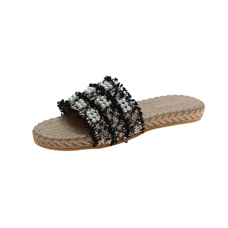 sandálias e chinelos de mulheres usam sapatos 2020 nova moda de verão fundo plano grandes tamanho de pérolas de mulheres 43