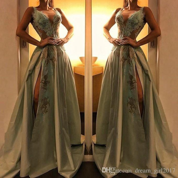 Stunning Olive Green Split Evening Dresses 2019 New Arrival Sexy Deep V Neck Appliques Floor Length Women Formal Party Gowns Prom Celebrity
