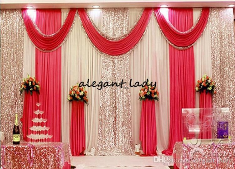 3 m * 6 m düğün backdrop swag Parti Perde Kutlama Sahne Ile Sahne Performansı Arka Plan Asmak Boncuk Sequins Kenar 5 renkler a ...