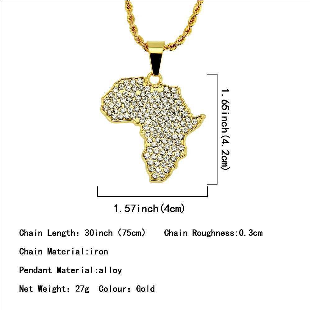 Hip-hop Cool africano diamante conjunto mapa pingente de colar