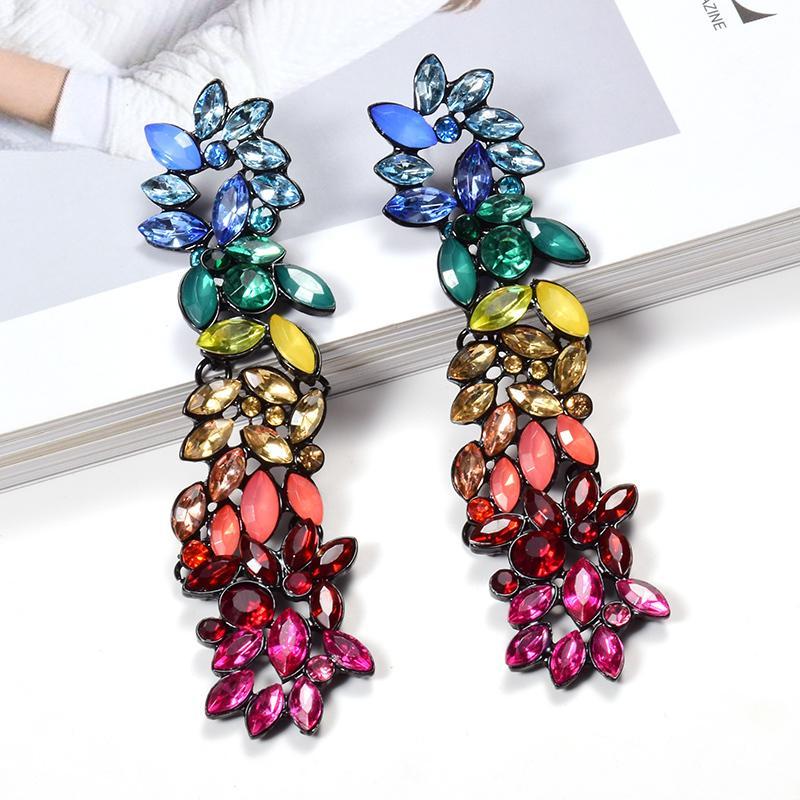Cristales coloridos al por mayor de gota largos pendientes para las mujeres joyería fina Accesorios colgando regalo de Navidad Bijoux Pendientes