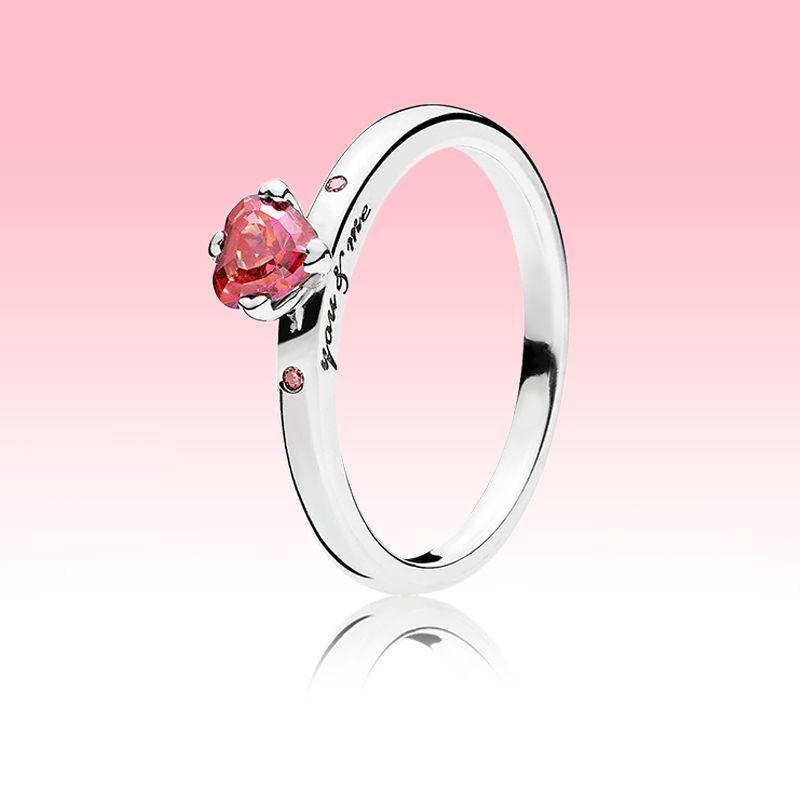 Köpüklü Kırmızı Kalp Yüzük Kadın CZ Pırlanta Düğün Takı Pandora için 925 Ayar Gümüş Aşk Kalpler Yüzük Orijinal Kutusu ile