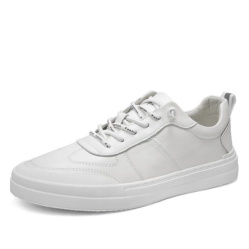 2020 мужские кожаные кроссовки мужская мода квартиры обувь для мужчин вулканизированная обувь круглый носок Повседневная обувь мужчины Белый Повседневная обувь %