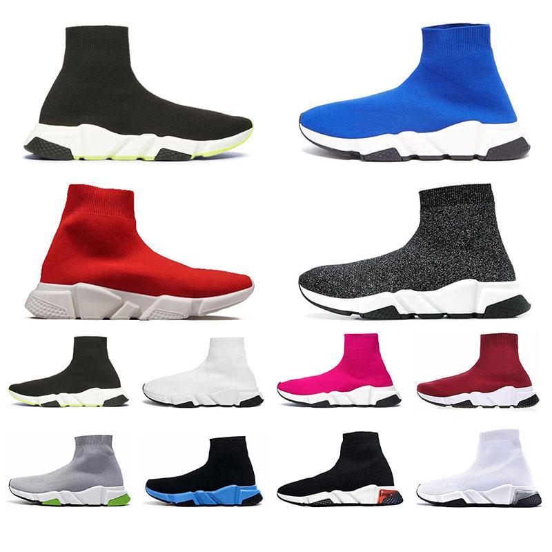 Balenciage Siyah Beyaz Yeşil Pinks Gri kadınlar iskarpin yukarı dantel Orijinal 2020 Erkek Hız Traniers Temizle Sole ağırlığı Çorap Ayakkabı
