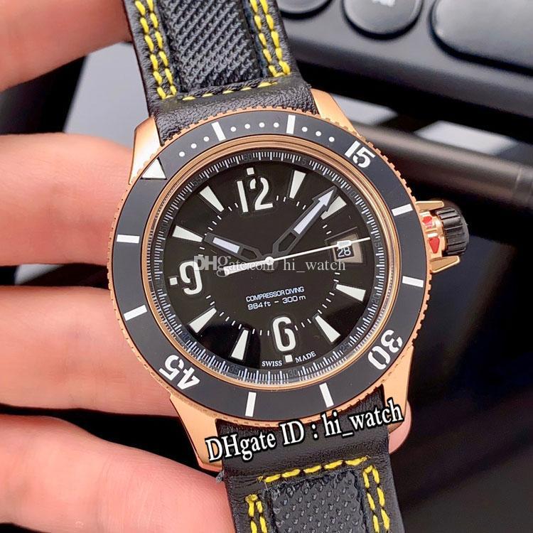 Nouveau Maître Compresseur Q2018470 Automatique Mens Montre Rose Or Noir Lunette Cadran Noir Blanc Marqueurs Noir Nylon Jaune Ligne Hi_watch E120a1
