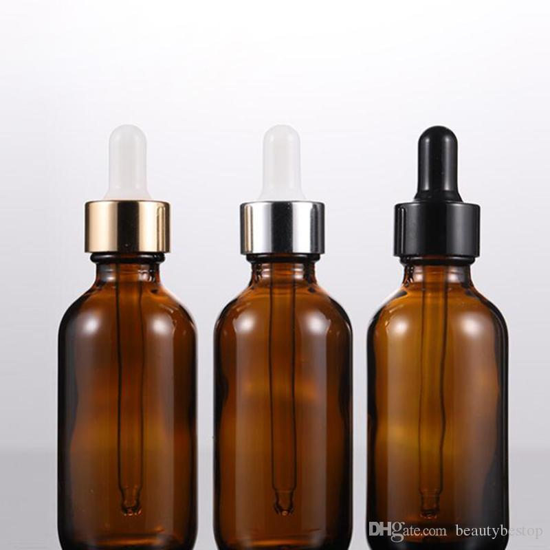 Wholesale Amber Essential Oil Dropper Bottle 2 oz Boston Round Glass Bottle With Black Gold Silver Lid For Cosmetic Packaging