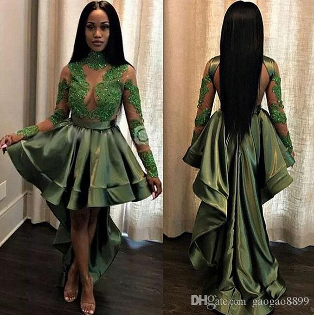 Dark green sexy see through prom dresses High Low Tiered Ruffle long sleeves Evening Dresses With Lace Beaded Sweep Train Vestidos De Noiva