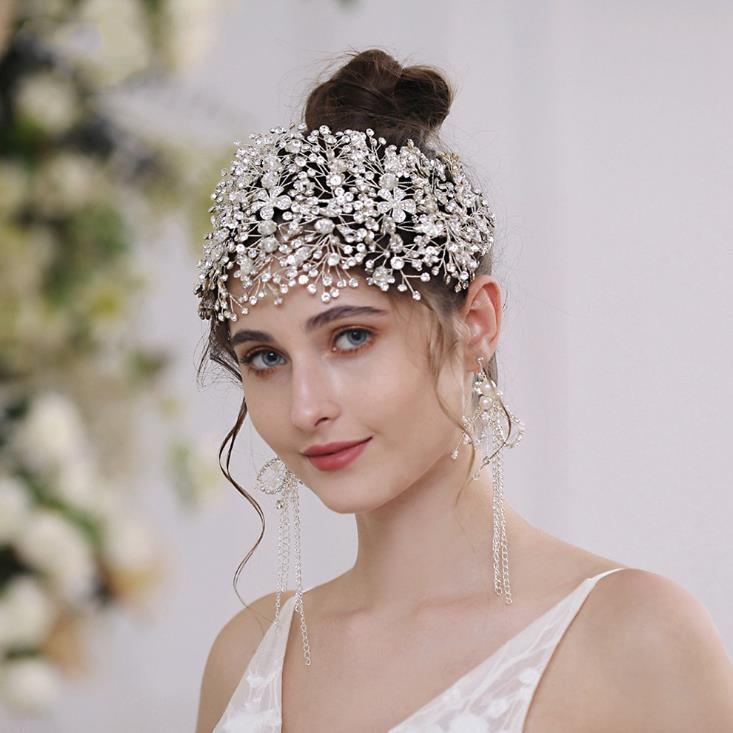 Wedding Bridal Forehead Headband Crystal Rhinestone Hairband Hair Accessories Crown Tiara Floral Flower Headpiece Jewelry Princess Ornament