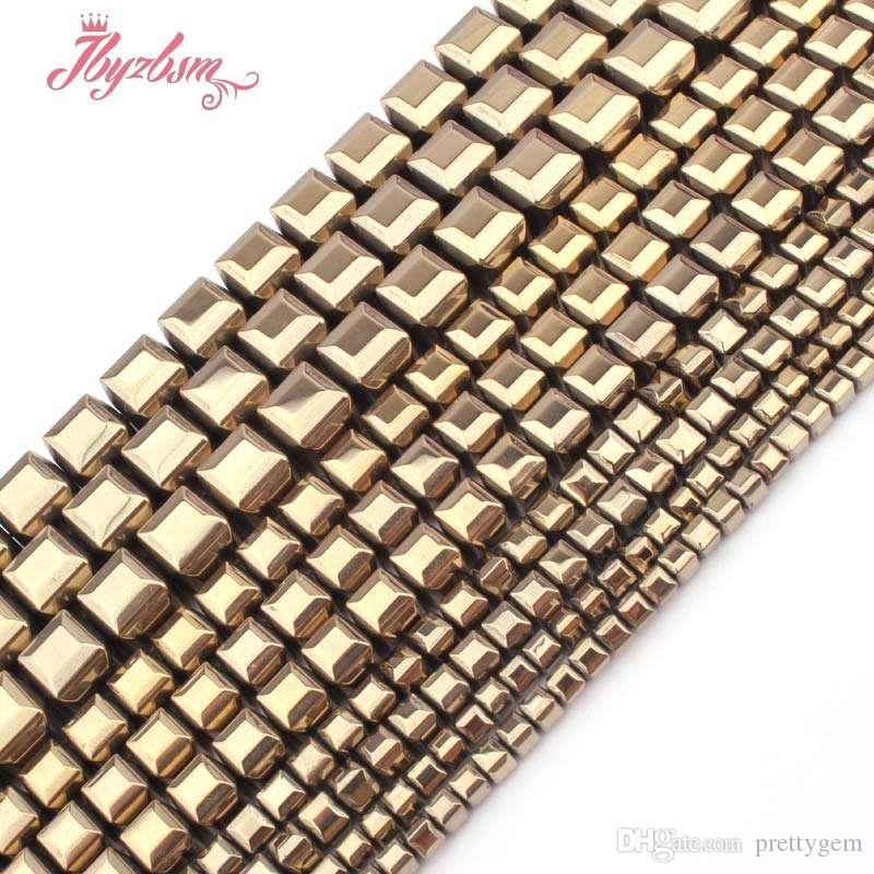 "3,4,6,8mm Faceted Cube Light Golds Hematite Beads Natural Stone Bead For Necklace Bracelets Jewelry Making 15"" Free Shipping"